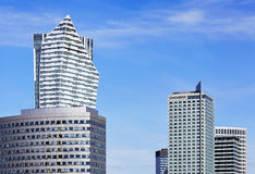 Modern skyscrapers in business district in Warsaw Stock Photos
