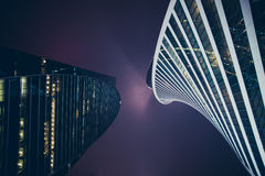 Modern skyscrapers in the center. Of the city at night royalty free stock photo