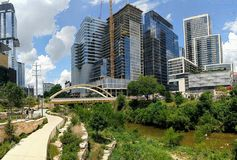 Modern skyscrapers of downtown Austin Texas stock photo