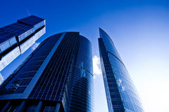 Modern skyscrapers at evening Stock Photo