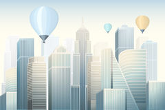 Modern skyscrapers with flying balloons in big city at the morning Stock Image