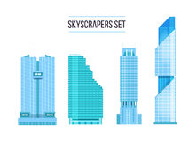 Modern skyscrapers icons set. Flat design of the city elements. Royalty Free Stock Images