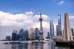 Lujiazui and Puxi Buildings Shanghai China stock photography