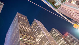 Modern skyscrapers of Midtown Manhattan as seen from street leve Stock Images