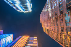 Modern skyscrapers at night Royalty Free Stock Images