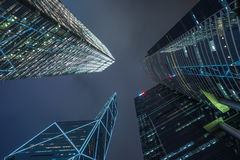 Modern skyscrapers at night Royalty Free Stock Photo