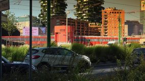 Modern skyscrapers and old tramway,Milan, ULTRA HD 4k, real time stock footage