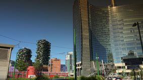Modern skyscrapers and old tramway,Milan, ULTRA HD 4k, real time stock video footage