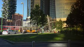 Modern skyscrapers and old tramway,Milan, ULTRA HD 4k, real time stock video