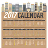 Modern Skyscrapers 2017 Printable Calendar Starts Sunday. Modern Skyscrapers 2017 Printable Calendar Starts Sunday Vector Illustration Stock Photo