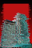 Modern skyscrapers on a red, black and white background. Trendy Glitch effect royalty free stock images