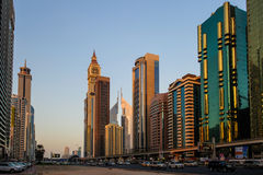 Modern skyscrapers, Sheikh zayed road in Dubai. Royalty Free Stock Images