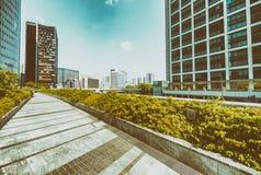 Modern skyscrapers of Shinbashi on a sunny day - Tokyo, Japan.  royalty free stock photography