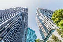 Modern skyscrapers of Shinbashi on a sunny day - Tokyo, Japan.  stock photos