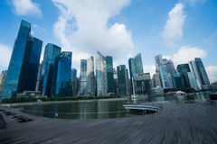 Modern skyscrapers in Singapore. Modern skyscrapers over cloudy sky background royalty free stock photo