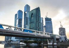 Modern skyscrapers at sunset. Moscow City Royalty Free Stock Image