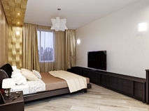 Modern slaapkamer binnenlands ontwerp Stock Fotografie