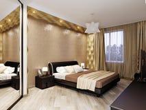 Modern slaapkamer binnenlands ontwerp Stock Foto's