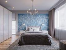Modern Slaapkamer Binnenlands Ontwerp met Klassieke Elementen Royalty-vrije Stock Foto's