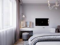 Modern Slaapkamer Binnenlands Ontwerp met Klassieke Elementen Stock Foto