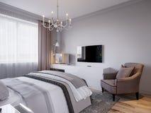Modern Slaapkamer Binnenlands Ontwerp met Klassieke Elementen Stock Foto's