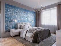 Modern Slaapkamer Binnenlands Ontwerp met Klassieke Elementen Royalty-vrije Stock Fotografie