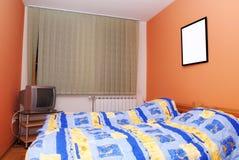 Modern slaapkamerbinnenland stock afbeeldingen