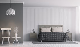 Modern Slaapkamerbinnenland met Zwart-wit 3d teruggevend Beeld Stock Afbeeldingen