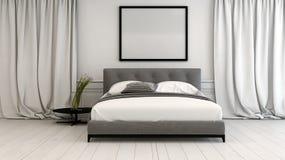 Modern slaapkamerbinnenland in neutrale tonen stock illustratie