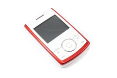 Modern Slider Cellphone. Red and white closed modern slider cellphone on white background Royalty Free Stock Photos