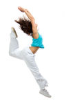Modern slim hip-hop style dancer teenage girl jumping dancing Royalty Free Stock Image