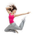 Modern slim hip-hop style dancer teenage girl jumping dancing Royalty Free Stock Photography