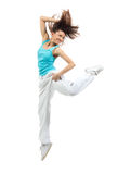 Modern slim hip-hop style woman dancer dancing Stock Images