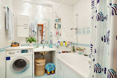 Modern small bathroom in blue. Colors wide angle view Stock Images