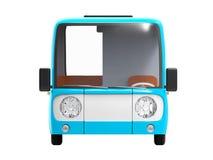 Modern cartoon bus blue front. Modern small blue cartoon bus. 3d illustration Royalty Free Stock Photo