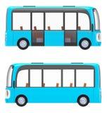 Modern cartoon bus blue side. Modern small green cartoon bus. 3d illustration Stock Photos
