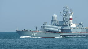 Modern small missile boat goes to sea stock video