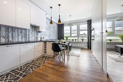 Modern small room with kitchen stock photo