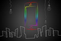 Modern smart design för telefonisoleringskonst Arkivfoto