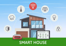 Modern Smart House with car infographic banner. Flat design style concept, technology system with centralized control Stock Image