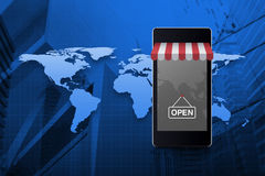 Modern smart mobile phone with on line shopping store graphic an. D open sign over world map and city tower, Elements of this image furnished by NASA Stock Images