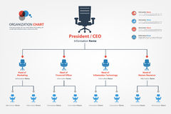 Modern and smart organization chart in which apply chair icon in Stock Photos