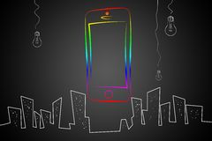 Modern smart phone isolation art design Stock Photo