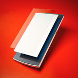 Modern smart phone with layers of blank screen and glass. Stock Photos