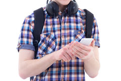 Modern smart phone in teenage boy hands isolated on white Stock Image