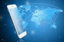 Modern smart phone witih communication map Stock Photos