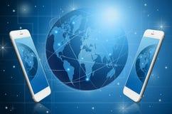 Modern smart phone witih Global Royalty Free Stock Photo