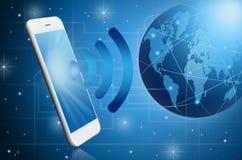 Modern smart phone witih Global Royalty Free Stock Photography