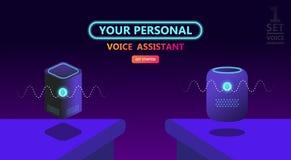Modern smart speaker, voice command device royalty free illustration