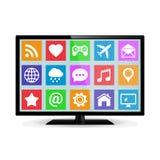 Modern smart TV för LCD med applikationsymboler Royaltyfri Bild